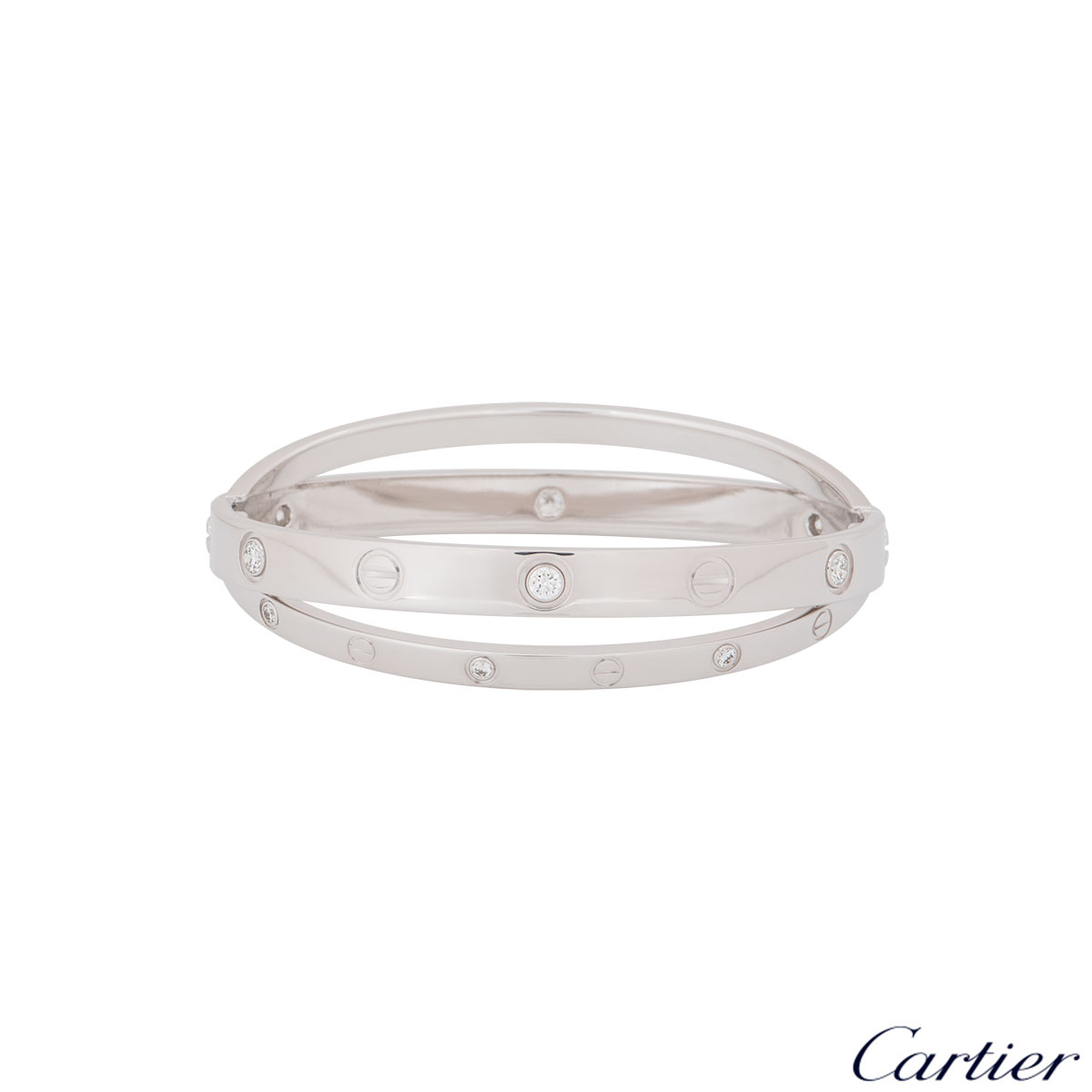 Cartier White Gold Half Diamond Love Bracelet Size 16 N6709516